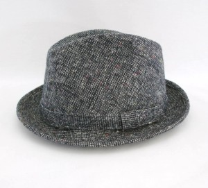 grey tweed fedora